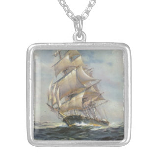 Ancient Sailing Ship Silver Plated Necklace