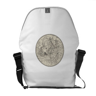 Ancient Sea Monster Attacking Sailing Ship Circle Commuter Bag