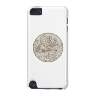 Ancient Sea Monster Attacking Sailing Ship Circle iPod Touch (5th Generation) Covers