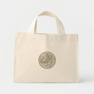 Ancient Sea Monster Attacking Sailing Ship Circle Mini Tote Bag