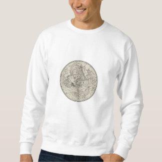 Ancient Sea Monster Attacking Sailing Ship Circle Sweatshirt