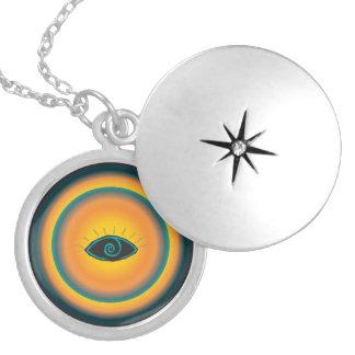Ancient Seeing Eye Tribal Design Blue Orange Round Locket Necklace