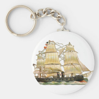 Ancient Ship Basic Round Button Key Ring