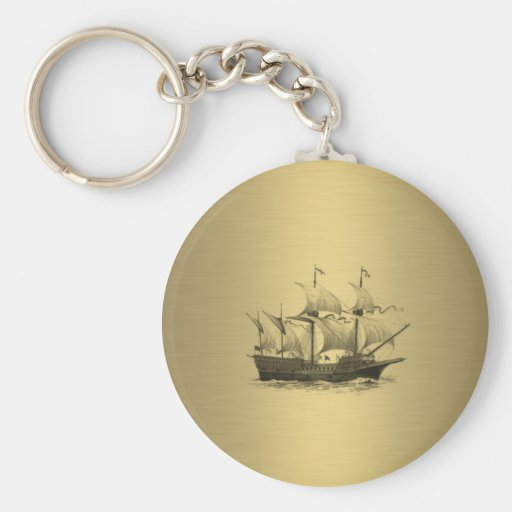 Ancient ship gold key chains