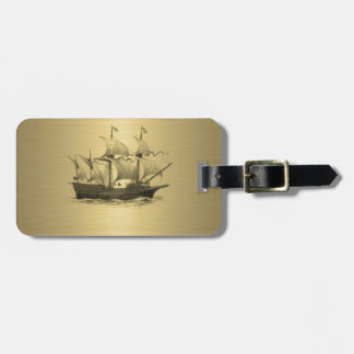 Ancient ship gold luggage tag