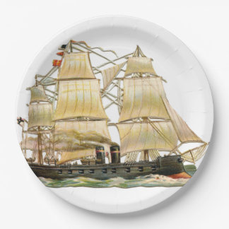 Ancient Ship Paper Plate