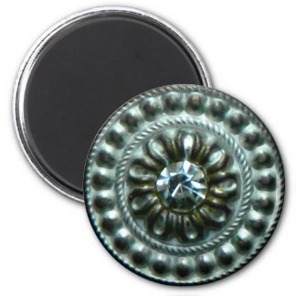 Ancient silver  brooch with gem magnet