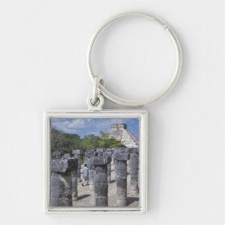 Ancient Stone pillars in Chichen Itza. Central Key Chain