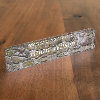 Ancient stone wall desk nameplates