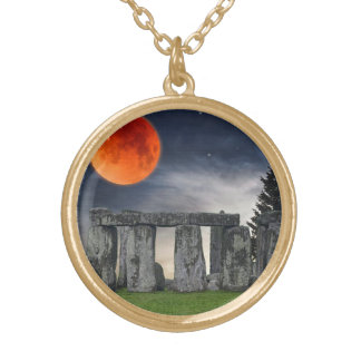 Ancient Stonehenge & Mystical Red Full Moon Gold Plated Necklace