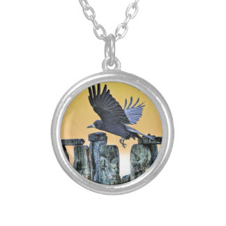 Ancient Stonehenge & Rook Corvid-lover's Gift Silver Plated Necklace