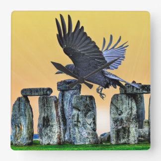 Ancient Stonehenge & Rook Corvid-lover's Gift Square Wall Clock