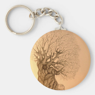 Ancient Tree Drawing Key Chains