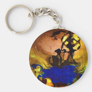 ancient tribe basic round button key ring