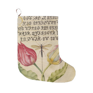 Ancient Tulips Dragonfly Manuscript Large Christmas Stocking