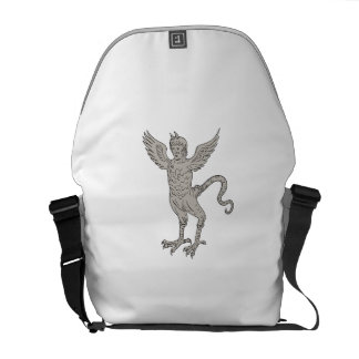 Ancient Winged Monster Drawing Commuter Bag