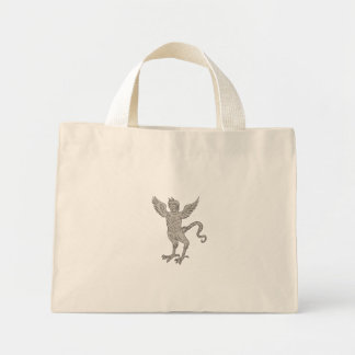 Ancient Winged Monster Drawing Mini Tote Bag