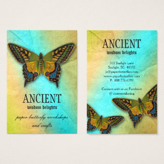 Ancient Wisdom Butterfly Leaf Pattern Business Card