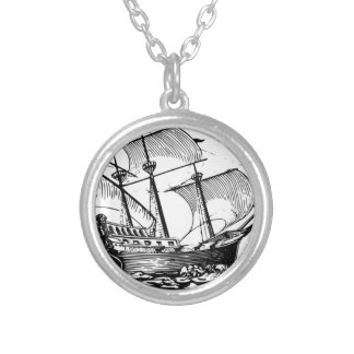 ancient wood ship in water silver plated necklace