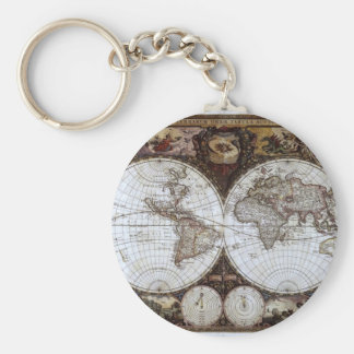 Ancient World Map Basic Round Button Key Ring