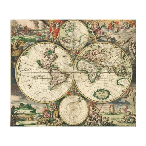 Ancient world map gallery wrapped canvas
