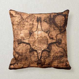 Ancient World Traveler - Map & Compass Rose Cushion