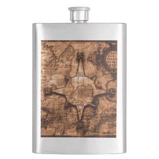 Ancient World Traveler - Map & Compass Rose Hip Flask