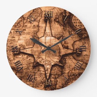 Ancient World Traveler - Map & Compass Rose Large Clock