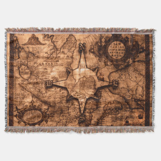 Ancient World Traveler - Map & Compass Rose Throw Blanket