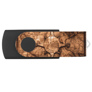 Ancient World Traveler - Map & Compass Rose USB Flash Drive