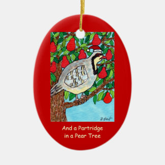 And a Partridge in a Pear Tree Ceramic Oval Decoration
