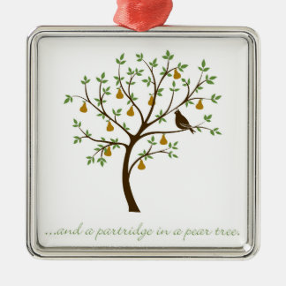 And a partridge in a pear tree Silver-Colored square decoration