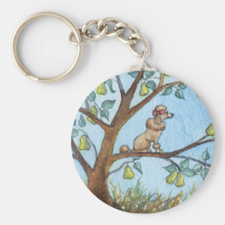 ...And a poo-oodle in a pear tree... Basic Round Button Key Ring