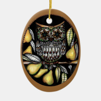 ... and an owl in a pear tree ceramic oval decoration