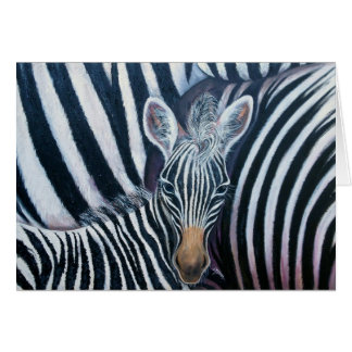 and baby Makes 3, Baby Zebra by GG Burns Greeting Card