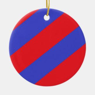 and Blue Stripes Ceramic Ornament