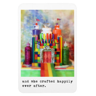 and she crafted happily ever after. rectangular photo magnet