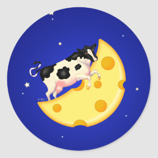 And the Cow Jumped Over the Cheese Moon Round Sticker