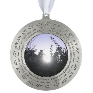 And The Light Shone Through Round Pewter Christmas Ornament
