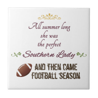...And Then Came Football Season Small Square Tile