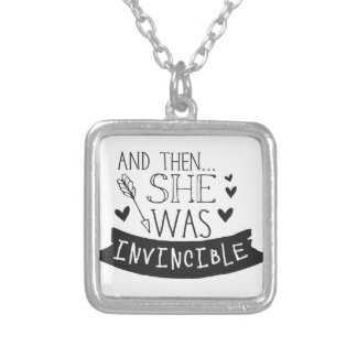 and then she was invincible silver plated necklace