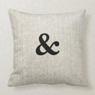 And & Wedding Linen Burlap Throw Pillow
