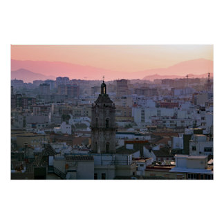 Andalusia. Sunset over Málaga. Poster