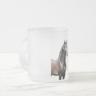 andalusian gray stallion frosted glass coffee mug