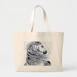Andalusian Horse blue Large Tote Bag