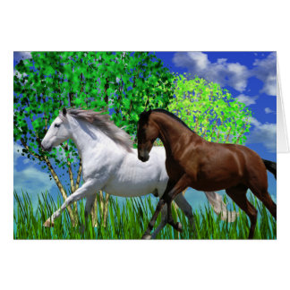 ANDALUSIAN HORSES RUNNING Greeting Card