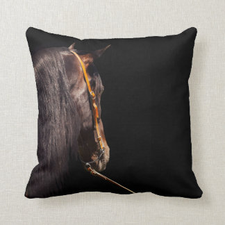 andalusian stallion at black background throw pillow