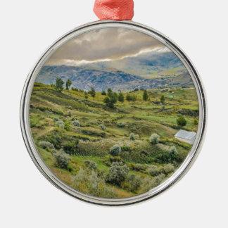 Andean Rural Scene Quilotoa, Ecuador Silver-Colored Round Decoration