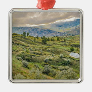 Andean Rural Scene Quilotoa, Ecuador Silver-Colored Square Decoration