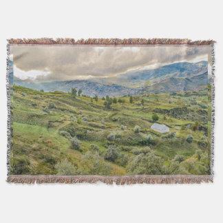Andean Rural Scene Quilotoa, Ecuador Throw Blanket